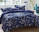 Bermo 300TC 100% Cotton Sateen Original Design Floral Duvet Cover Sets 3 PC, Blossom, Full/Queen