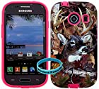[ Samsung Galaxy Ace Style / SM-G310 / S765C ] for Net 10 Straight Talk Tracfone - Deer Hunting 2 Mossy Camo Snap on over Pink silicone,Wireless Fones TM Hybrid Tuff Super Compact Armor Case