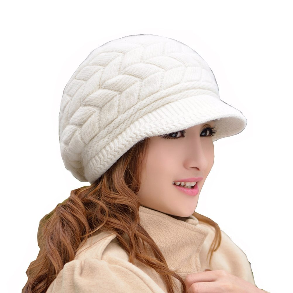 winter warm fluffy wool knit hat snow cap with