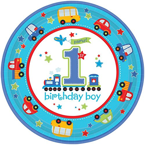 "Amscan All Aboard Boy 1st Birthday Round Plates, 10.5"", Blue/Red/Green/Yellow"