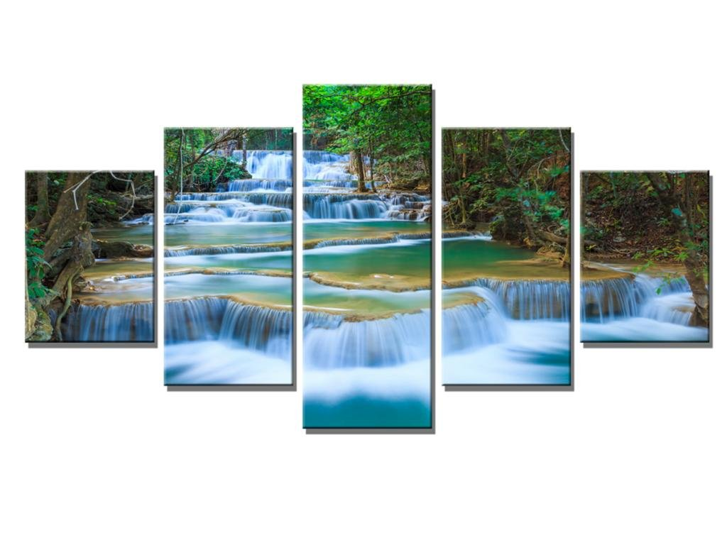 S746 Canvas Print For Living Room Decoration Framed Stretched And Ready To Hang 5 Panels