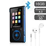 PUERSIT MP3 Player with Bluetooth and FM Radio,16GB Portable HIFI Lossless Sound MP3/MP4 Music Player with Pedometer/Voice Recorder/Earphone for Sports,50 Hours Playback (Max expand to 128GB) (Color: Black+blue)