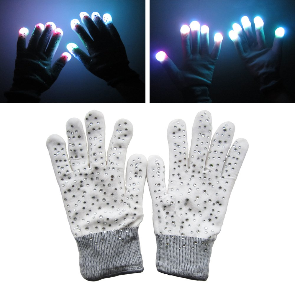 Diamond Encrusted LED Rave Gloves