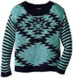 My Michelle Big Girls Sweater with Diamond-Front Pattern and Stripe Sleeves