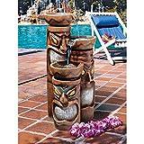 Design Toscano Cascading Aloha Tiki 3-Bowl Garden Fountain