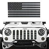Hooke Road Front US American Flag Jeep Grille Insert Old Glory for 2007-2018 Jeep Wrangler JK & Wrangler Unlimited (Black Out)