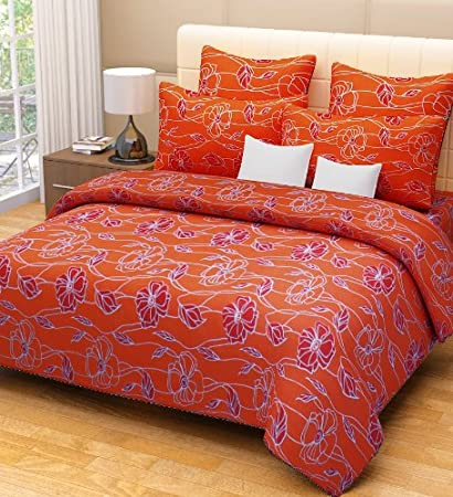 Home Candy 100% Cotton Attractive Orange Flowers Double Bed Sheet with 2 Pillow Covers