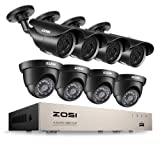 ZOSI 8CH 1080P Security Camera System HD-TVI Video DVR Recorder with (8) 2.0MP Bullet and Dome Weatherproof CCTV Cameras,Day&Night Vision,Motion Alert