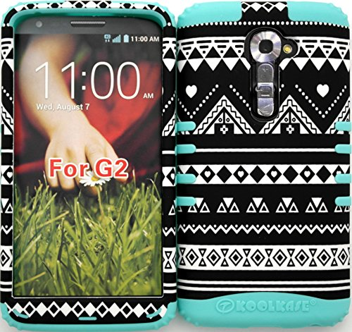Wireless Fones Tm High Impact Hybrid Rocker Case For Lg G2 Vs980 (Verizon Only) New Black & White Tribal Aztec On Baby Teal Silicone back-79665