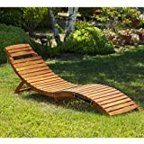 NEW S-Shape Natural Wood Tone Lisbon Folding Chaise Outdoor Patio Lounge Chair