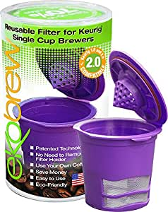 Ekobrew Cup 2-Count Refillable Cup for Keurig K-Cup Brewers, Brown/Green