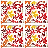 Snoogg Colorful Petals Pack Of 4 Digitally Printed Cushion Cover Pillows 12 X 12 Inch