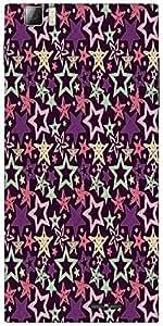 Snoogg Star Pattern Purple Designer Protective Back Case Cover For Lenovo K900