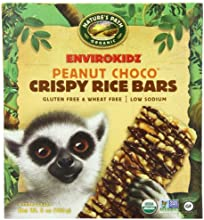 EnviroKidz Organic Lemur Peanut Choco Drizzle Crispy Rice Bar, 6-Count Bars, 6oz Boxes(Pack of 6)