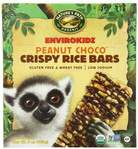 EnviroKidz Organic Lemur Peanut Choco Drizzle Crispy Rice Bar, 6-Count Bars, 6oz Boxes(Pack of 6) (Rice Crispy Gluten Free compare prices)
