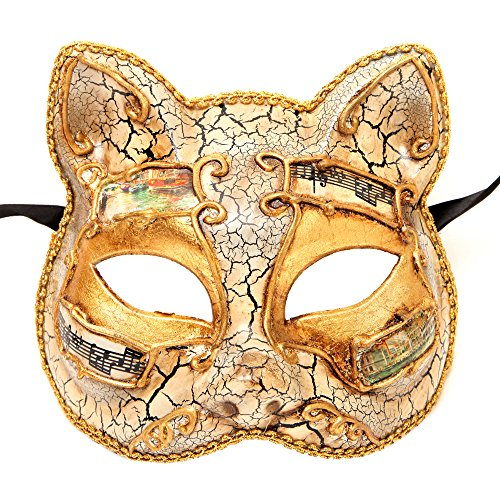 Gatto White Gold Mysterious Fortune Cat Venetian Masquerade Mask