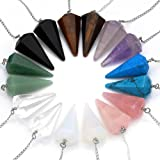 Top Plaza Natural Amethyst Rose Quartz Clear Crystal Opalite Multifaceted Pointed Pendulums Reiki Healing Pendants (1 Set (8pcs)) (Color: 1 Set (8pcs))