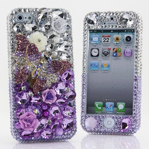Best Price BlingAngels® 3D Luxury Bling iphone 5 5s Case Cover Faceplate Swarovski Crystals Diamond Sparkle bedazzled jeweled Design Front & Back Snap-on Hard Case (100% Handcrafted by BlingAngels) (Purple Butterfly Design)