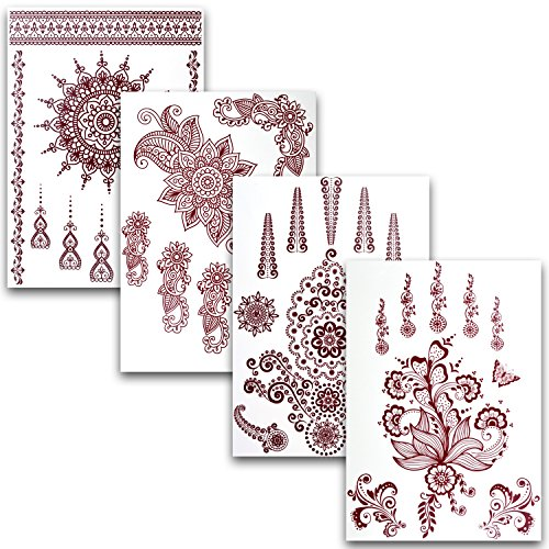 flash sale flash tattoo henna 4er set mit 35 wundersch nen motiven tempor re arabic henna. Black Bedroom Furniture Sets. Home Design Ideas