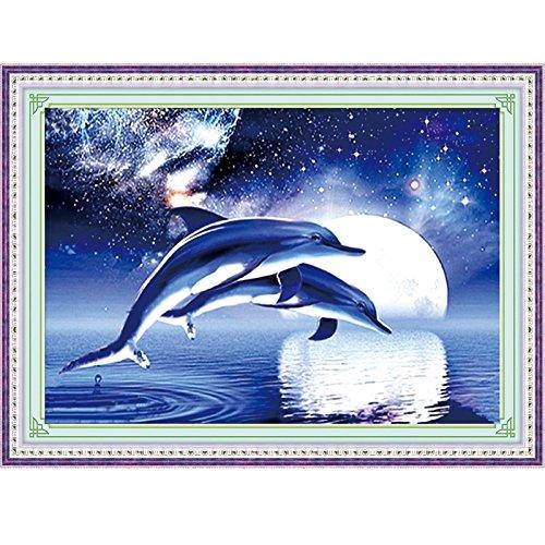 lesmartzyn (TM) New fai da te diamante ricamo kit punto croce 5d acrilico diamante pittura animale delfino blu cielo stellato 1set - Delfini Croce