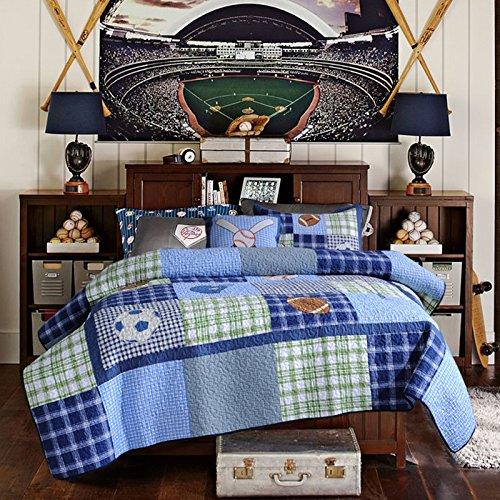 Brandream Twin Size Kids Boys Blue Cartoon Quilted Bedspreads Set Cute Sports Football Summer Quilts Set