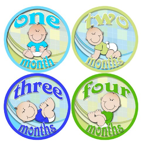 LIL BOY BABIES STICKERS 1-12 Month Baby Monthly One Piece Stickers Baby Shower Gift Photo Shower Stickers