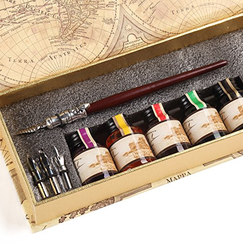 GC QUill Calligraphy Pen Set Writing Case with 5 Bottle Ink (Calligraphy Kit Wood compare prices)