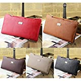 Womens/Mens Soft Leather Zipper Long Bifold Wallet Slim Purse Credit Card Holder