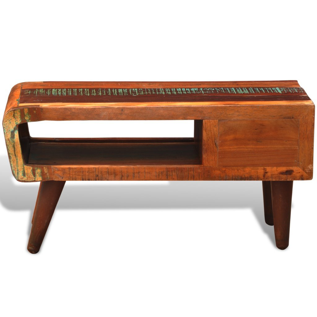 vidaXL Antique-style Reclaimed Wood Coffee Table Curved Edge 6