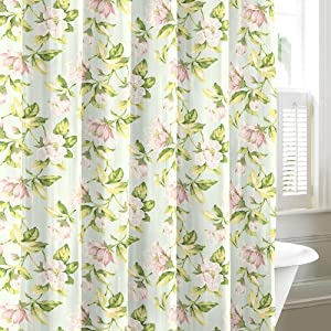 laura ashley carlisle floral 100 cotton shower curtain aqua green pink. Black Bedroom Furniture Sets. Home Design Ideas