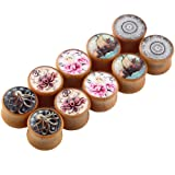 TIANCI FBYJS 5 Pairs Wooden Gauges Organic Wood Double Flared Ear Tunnels Expander Plugs Stretcher for Women Men 5 Style 12mm=1/2'' (Color: 12mm=1/2'')