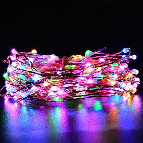 [New Rainbow Colors]luckled Starry String Lights, 20ft 120LED Fairy Copper Wire Rope Lights for Indoor/outdoor Seasonal Décor, Home, Christmas, Holiday, Valentine's day, Wedding and Party Decorations