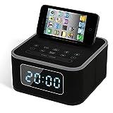 QQA Bluetooth Music Alarm Clock with Stereo Speaker FM Radio USB Charging Wireless Remote Control MP3 Player