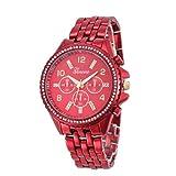 Geneva Lookatool Fashion Classic Luxury Stainless Steel Quartz Analog Wrist Watch (! Red) (Color: ! Red, Tamaño: Free size)