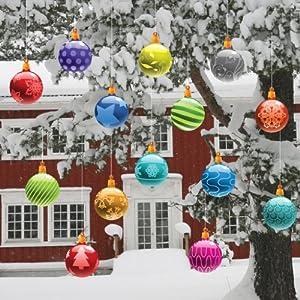 Christmas Yard Decorations - Traditional Hanging Christmas Ornaments (Globes Shape)