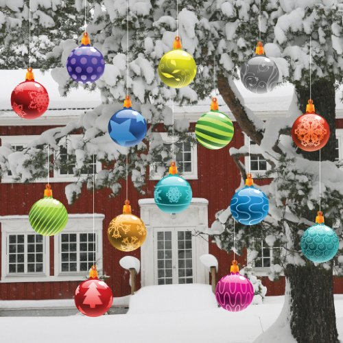 Christmas Yard Decorations - Traditional Hanging Christmas Ornaments (Globes Shape)