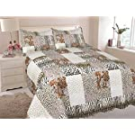 MarCielo 3 Piece Quilted Bedspread, Leopard Print Quilt, Quilt Set Bedding Throw Blanket Coverlet Lightweight Animal Print Bedspread Ensemble, King Cheetah