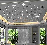 43 pcs bricolage étoiles de métal comme mur autocollant miroir stickers pour chambre bébé enfants salle conte de fées parti décor...