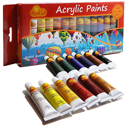 Acrylic Paint Set - Premium 12 Colors x 12ml (0.4 oz) Tubes - Artist Quality - Non-Toxic Art Supplies Kit - For Professionals, Students, Beginners, Kids - by Mood Lab (Aerosol Spray Paint Pack compare prices)