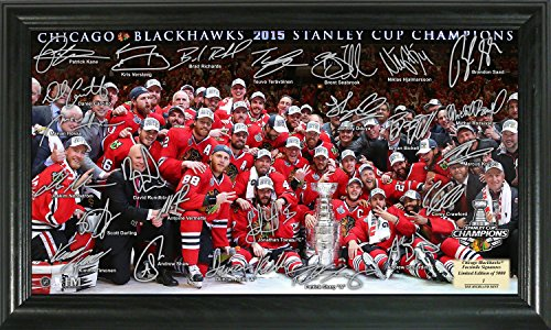 "NHL Chicago Blackhawks 2015 Stanley Cup Champions Signature Rink, 22"" x 15"" x 4"", Black"