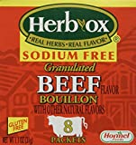 Herb-ox Bouillon Packets Beef Instant Broth & Seasoning Sodium Free 1.1 Oz Box (Gluten Free) 2 Pack