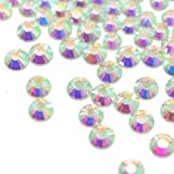 Queenme 5MM Flatback Rhinestones SS20 AB Crystals Flat Back Round Gems Glass Stones Glue on 1440 Pieces (Color: Glue on Rhinestones, Tamaño: Crystal AB SS20 5mm)