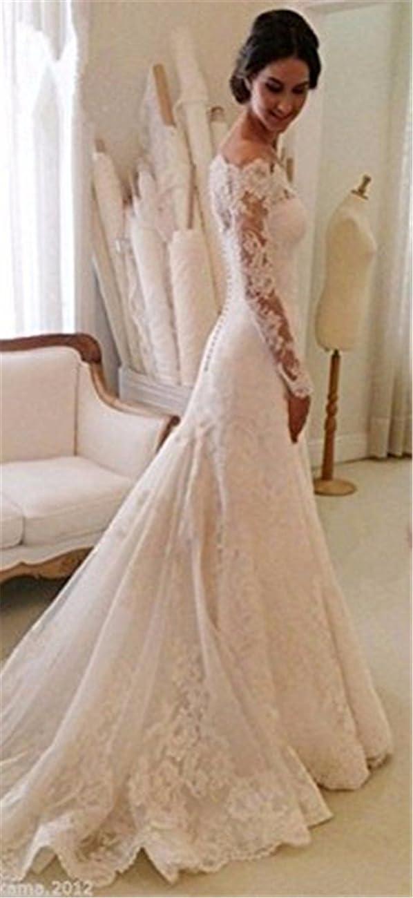 Arrowder Vintage Long Sleeves Beteau Lace Mermaid Wedding Dresses 2016 2