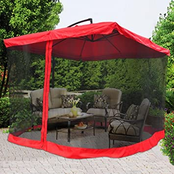 Lovely Deluxe Square Feet Red Polyester Outdoor Patio Furniture Pool Side Offset Market Folding Umbrella Canopy