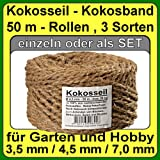 à 4.5 mm coir rope coir yarn tree binder garden twine strip of coconut fiber 100% natural fiber (à 4.5 mm - 50 m - Capacity 29 kg max.)