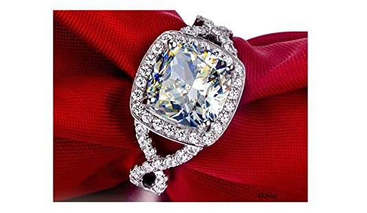 3 Carat Solitaire Halo Cushion and Round Brilliant Cut White Simulated Diamond 925 Sterling Silver Engagement Wedding Bridal Anniversary Ring,All Size available