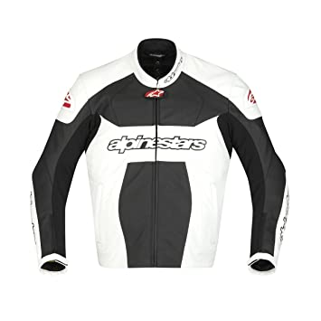 Alpinestars - Blouson moto cuir GP PLUS LEATHER JACKET - Taille : 56 - Couleur : Blanc/Noir