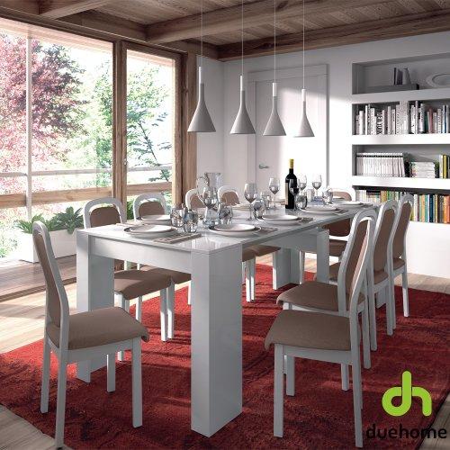 Mesa de comedor consola extensible hasta 235 cm ,acabado blanco brillo