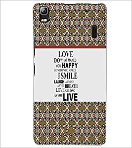 PrintDhaba Quote D-3226 Back Case Cover for LENOVO A7000 (Multi-Coloured)
