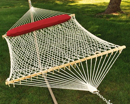 82″ x 60″ Cotton Rope 2-Point Double Hammock with Hanging Hardware and Pillow